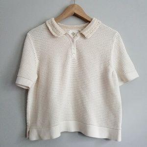 Anthropologie HWR Cream Crochet Polo